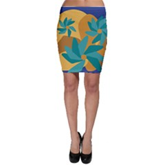 Urban Garden Abstract Flowers Blue Teal Carrot Orange Brown Bodycon Skirt by CircusValleyMall