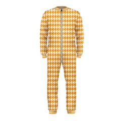 Friendly Houndstooth Pattern, Orange Onepiece Jumpsuit (kids)