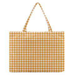 Friendly Houndstooth Pattern, Orange Zipper Medium Tote Bag by MoreColorsinLife