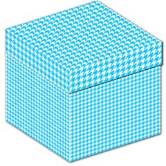 Friendly Houndstooth Pattern,aqua Storage Stool 12   by MoreColorsinLife