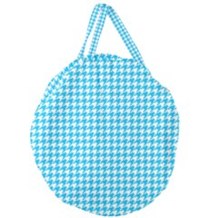 Friendly Houndstooth Pattern,aqua Giant Round Zipper Tote