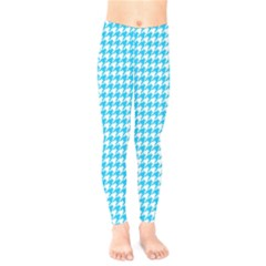 Friendly Houndstooth Pattern,aqua Kids  Legging by MoreColorsinLife