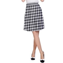 Friendly Houndstooth Pattern,black And White A Line Skirt by MoreColorsinLife