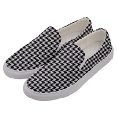 Friendly Houndstooth Pattern,black And White Men s Canvas Slip Ons by MoreColorsinLife