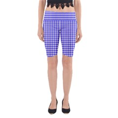 Friendly Houndstooth Pattern,blue Yoga Cropped Leggings by MoreColorsinLife