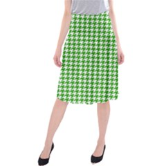 Friendly Houndstooth Pattern,green Midi Beach Skirt by MoreColorsinLife