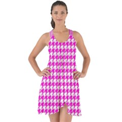 Friendly Houndstooth Pattern,pink Show Some Back Chiffon Dress by MoreColorsinLife