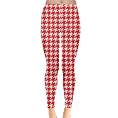 Friendly Houndstooth Pattern,red Leggings  by MoreColorsinLife
