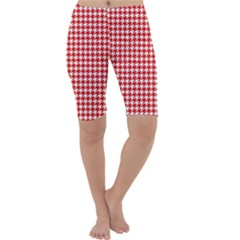 Friendly Houndstooth Pattern,red Cropped Leggings  by MoreColorsinLife