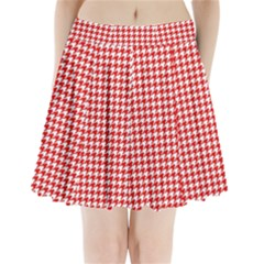 Friendly Houndstooth Pattern,red Pleated Mini Skirt by MoreColorsinLife