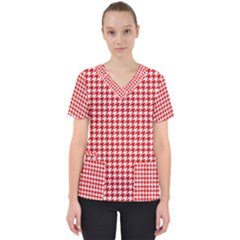Friendly Houndstooth Pattern,red Scrub Top by MoreColorsinLife