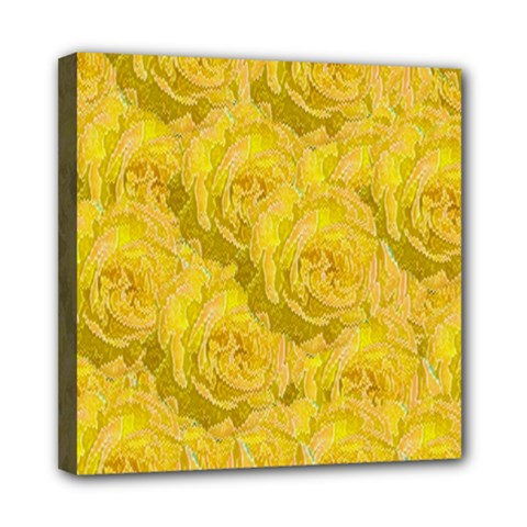 Summer Yellow Roses Dancing In The Season Mini Canvas 8  X 8  by pepitasart