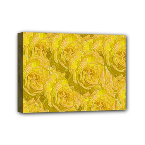 Summer Yellow Roses Dancing In The Season Mini Canvas 7  X 5  by pepitasart