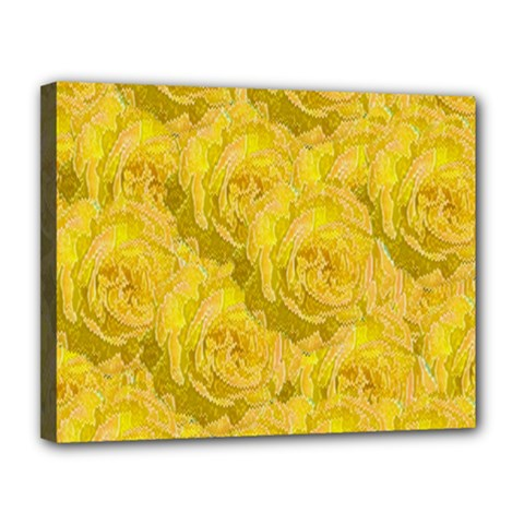 Summer Yellow Roses Dancing In The Season Canvas 14  X 11  by pepitasart