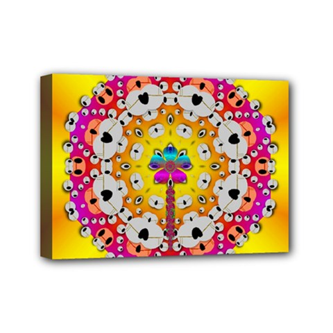 Fantasy Flower In Tones Mini Canvas 7  X 5  by pepitasart