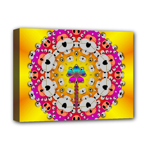 Fantasy Flower In Tones Deluxe Canvas 16  X 12   by pepitasart