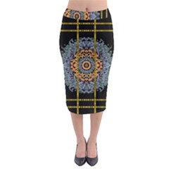 Blue Bloom Golden And Metal Midi Pencil Skirt by pepitasart