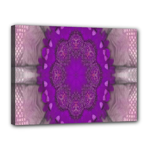 Fantasy Flowers In Harmony  In Lilac Canvas 16  X 12  by pepitasart