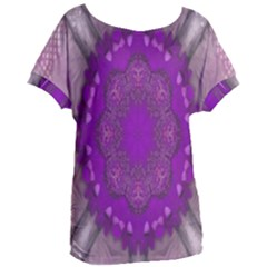 Fantasy Flowers In Harmony  In Lilac Women s Oversized Tee by pepitasart