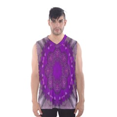 Fantasy Flowers In Harmony  In Lilac Men s Basketball Tank Top