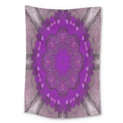 Fantasy Flowers In Harmony  In Lilac Large Tapestry by pepitasart