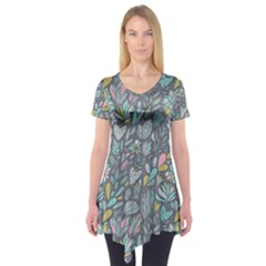 Cactus Pattern Green  Short Sleeve Tunic  by Mishacat