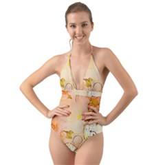 Wonderful Floral Design In Soft Colors Halter Cut Out One Piece Swimsuit