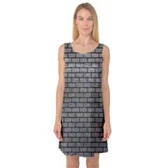 Brick1 Black Marble & Gray Leather (r) Sleeveless Satin Nightdress