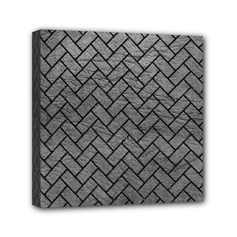 Brick2 Black Marble & Gray Leather (r) Mini Canvas 6  X 6  by trendistuff