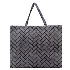 Brick2 Black Marble & Gray Leather (r) Zipper Large Tote Bag by trendistuff