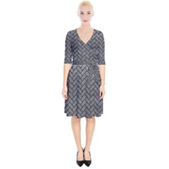 Brick2 Black Marble & Gray Leather (r) Wrap Up Cocktail Dress