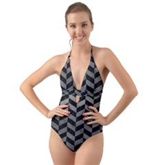 Chevron1 Black Marble & Gray Leather Halter Cut Out One Piece Swimsuit
