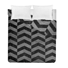 Chevron2 Black Marble & Gray Leather Duvet Cover Double Side (full/ Double Size)