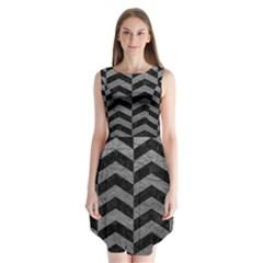 Chevron2 Black Marble & Gray Leather Sleeveless Chiffon Dress