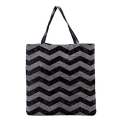 Chevron3 Black Marble & Gray Leather Grocery Tote Bag by trendistuff