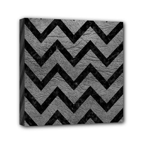 Chevron9 Black Marble & Gray Leather (r) Mini Canvas 6  X 6
