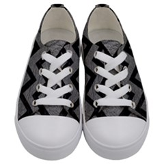 Chevron9 Black Marble & Gray Leather (r) Kids  Low Top Canvas Sneakers