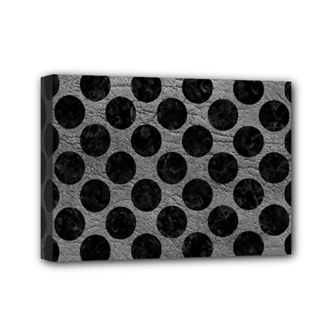 Circles2 Black Marble & Gray Leather (r) Mini Canvas 7  X 5  by trendistuff