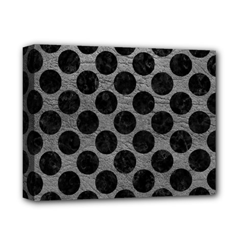 Circles2 Black Marble & Gray Leather (r) Deluxe Canvas 14  X 11  by trendistuff
