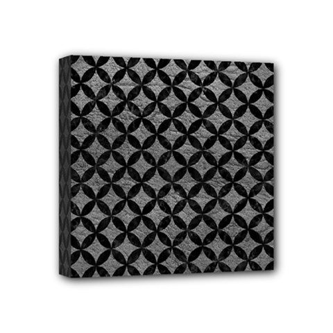 Circles3 Black Marble & Gray Leather (r) Mini Canvas 4  X 4  by trendistuff
