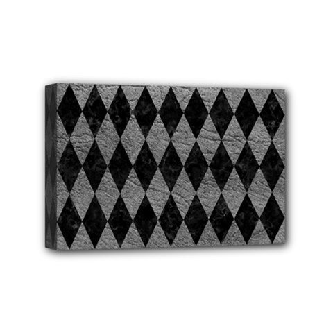 Diamond1 Black Marble & Gray Leather Mini Canvas 6  X 4  by trendistuff