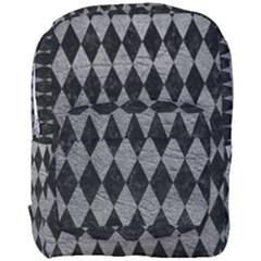 Diamond1 Black Marble & Gray Leather Full Print Backpack by trendistuff
