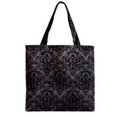Damask1 Black Marble & Gray Leather (r) Zipper Grocery Tote Bag