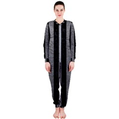 Stripes1 Black Marble & Gray Leather Onepiece Jumpsuit (ladies)