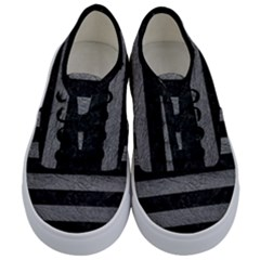 Stripes2 Black Marble & Gray Leather Kids  Classic Low Top Sneakers