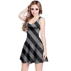 Stripes3 Black Marble & Gray Leather (r) Reversible Sleeveless Dress