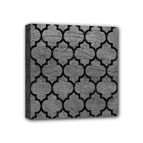 Tile1 Black Marble & Gray Leather (r) Mini Canvas 4  X 4  by trendistuff