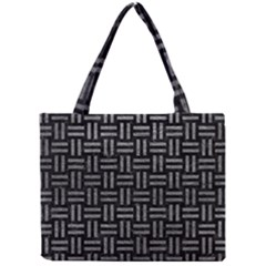 Woven1 Black Marble & Gray Leather Mini Tote Bag by trendistuff