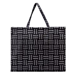 Woven1 Black Marble & Gray Leather Zipper Large Tote Bag by trendistuff