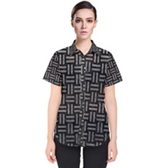 Woven1 Black Marble & Gray Leather Women s Short Sleeve Shirt